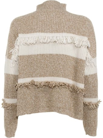 Kaos Sweater With White-beige Fringes