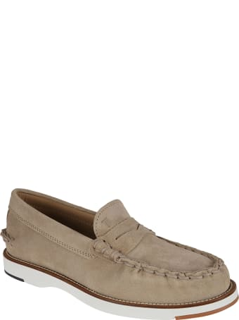 Tod's Exposed Stitching Logo Stamp Loafers