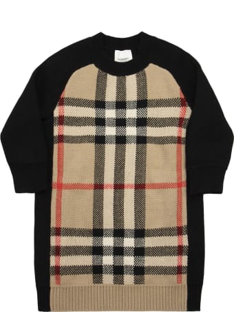 Burberry Dianne - Wool And Cashmere Knit Dress With Jacquard Tartan Pattern