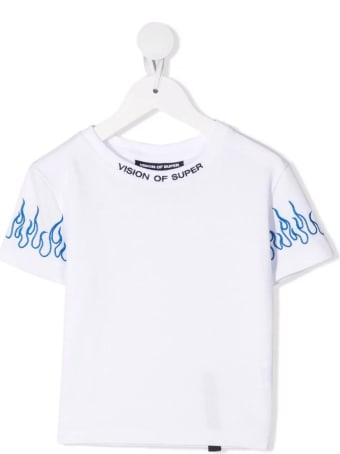 Vision of Super Unisex Kid White T-shirt With Embroidered Blue Flames