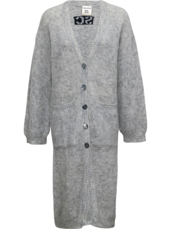 SEMICOUTURE Evelyne Long Cardigan In Mohair Blend With Logo