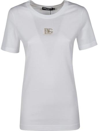 Dolce & Gabbana Crystal Logo Plaque Embellished T-shirt