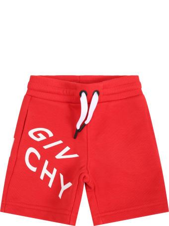 Givenchy Red Short For Babyboy With Logo