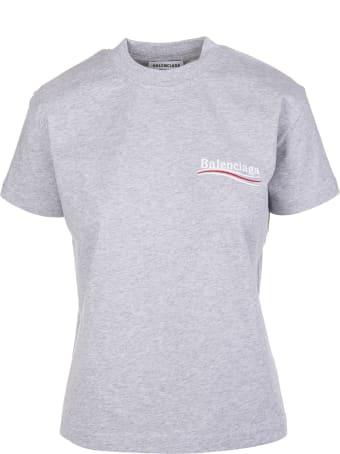 Balenciaga Woman Grey Slim Fit Political Campaign T-shirt