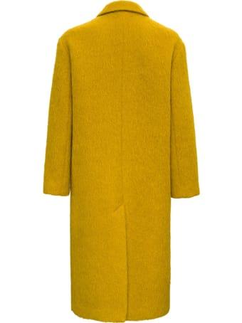 Tela Glam Long Coat In Ocher Colored Wool Blend