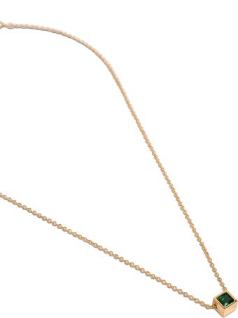 Saint Laurent Metal Necklace With Cube Pendant Detail