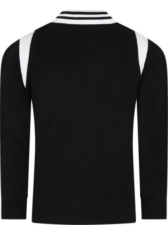 Moncler Black Polo For Boy With White Logo