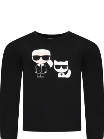 Karl Lagerfeld Kids Black T-shirt For Kids With Karl Lagerfeld And Choupette