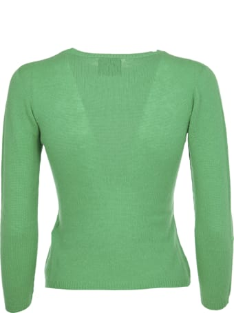Pink Memories Green Cashmere Sweater