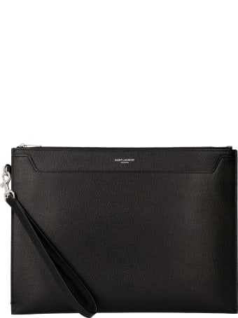 Saint Laurent Logo Detail Flat Leather Pouch