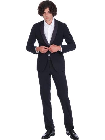 Giorgio Armani Tuxedo Dress In Blue Wool