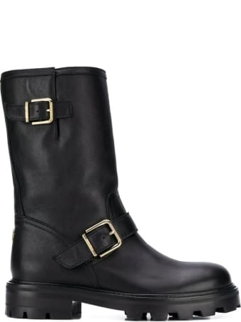 Jimmy Choo Biker  Black Leather Boots