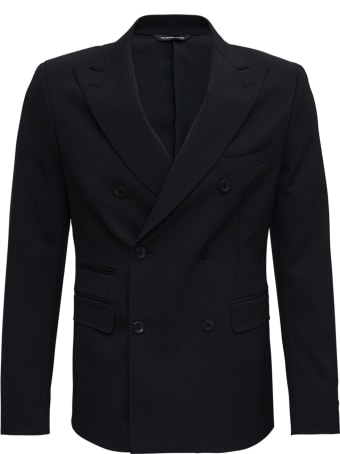 Tonello Double-breasted Black Wool Jacket