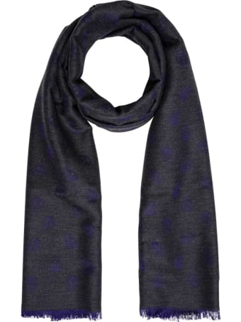 Alexander McQueen Grey And Purple Skull Scarf In Wool And Silk