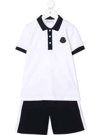 Moncler White And Dark Blue Polo And Shorts Kid Set