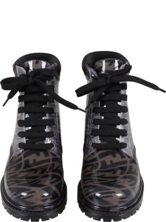Fendi Brown Boots For Kids With Logo Vertigo