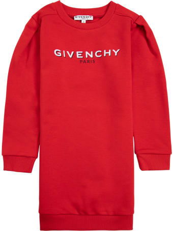 Givenchy Red Jersey Dress With Logo Print