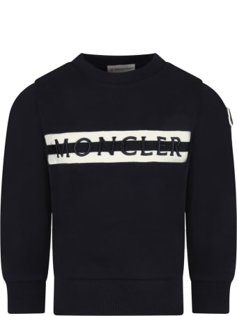 Moncler Blue Sweatshirt For Kids With Logo