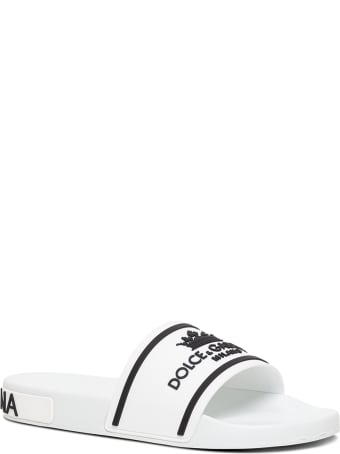 Dolce & Gabbana White Rubber Slippers With Logo