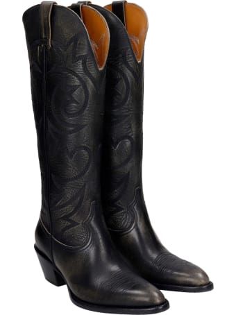Buttero Texan Boots In Black Leather