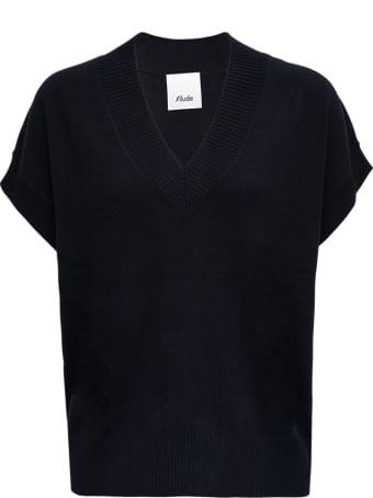 Allude Black Cashmere Vest With V-neck