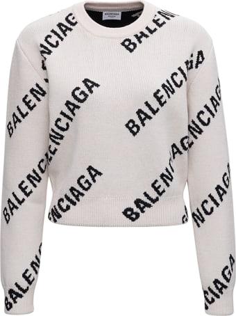 Balenciaga Cotton Crop Sweater With Allover Logo Print