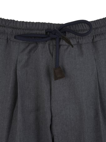 Fedeli Man Anthracite Grey Tailored Trousers With Elasticated Waist