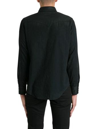 Saint Laurent Weter Shirt In Coated Denim