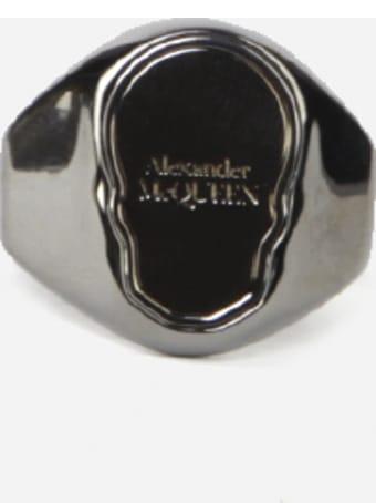 Alexander McQueen Skull Tag Ring In Brass