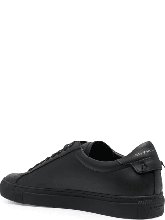 Givenchy Man Matte Black Urban Street Sneakers With Latex Stripe
