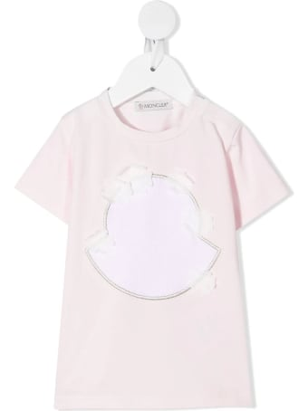 Moncler Pink Newborn T-shirt With Maxi Logo And Floral Applications