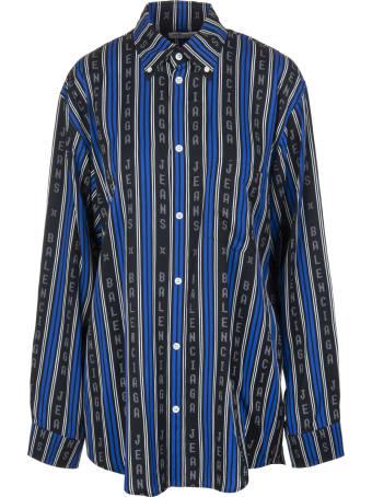 Balenciaga Black And Blue Large Fit Shirt