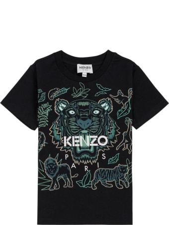 Kenzo Kids Black Cotton T-shirt With Tiger Print
