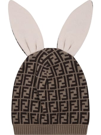 Fendi Beige Hat For Babykids With Double Ff