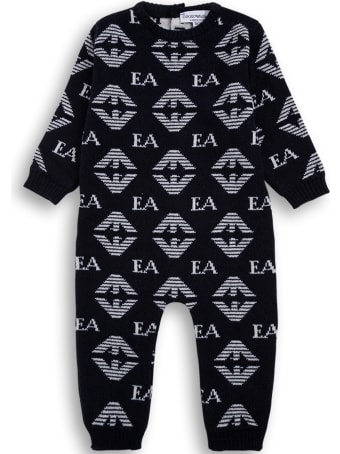 Emporio Armani Blue Wool And Silk Onesie With Allover Logo Print