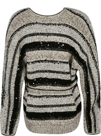 Brunello Cucinelli Tie-waist Stripe V-neck Cardigan
