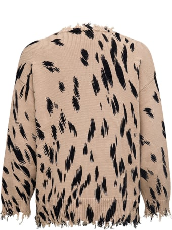 SEMICOUTURE Patricia Beige Sweater With Animalier Print