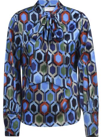 Eddy Monetti Printed Bow Silk Shirt