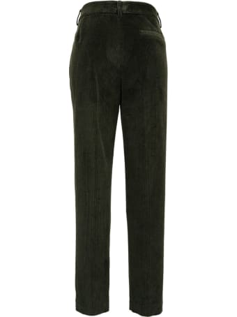 SEMICOUTURE Claudie Green Cotton Ribbed Trousers