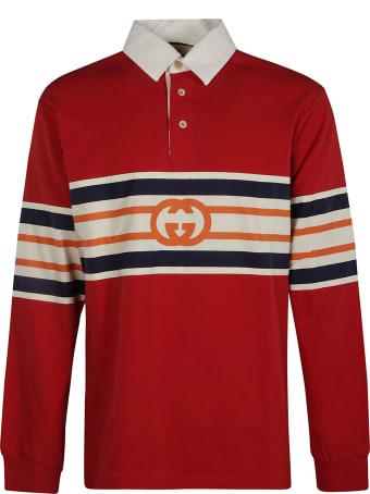 Gucci Center Stripe Longsleeved Polo Shirt