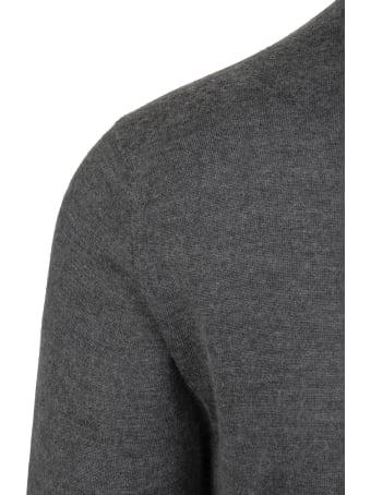 Fedeli Man Dark Grey Turtleneck Pullover In Cashmere And Silk