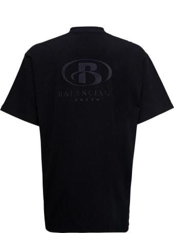 Balenciaga Black Cotton T-shirt With Logo