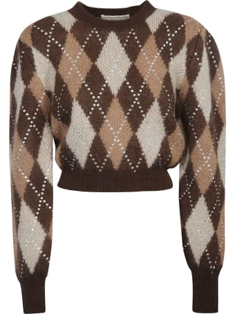 Alessandra Rich Hotfix Crystal Argyle Wool Cropped Jumper