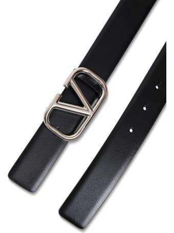 Valentino Garavani Black Leather Belt With Logo Buckle