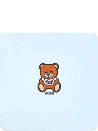 Moschino Light Blue Blanket For Babyboy With Teddy Bear
