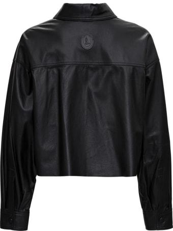 Trussardi Crop Jacket In Black Leather