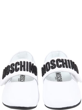Moschino White Ballerina Flats For Babygirl