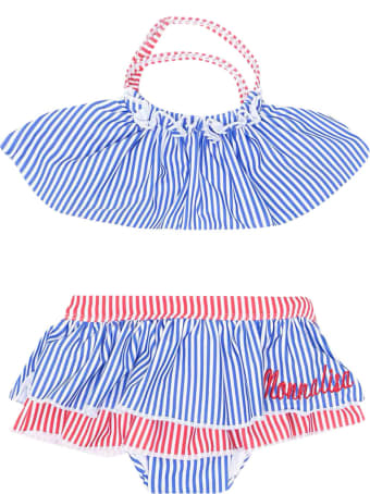 Monnalisa 2-piece Swimsuit With Red And Blue Striped Print