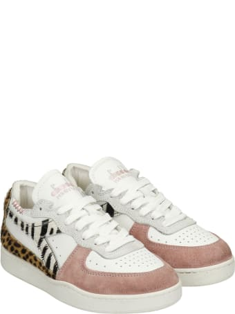 Diadora Mi Basket Sneakers In White Suede And Leather