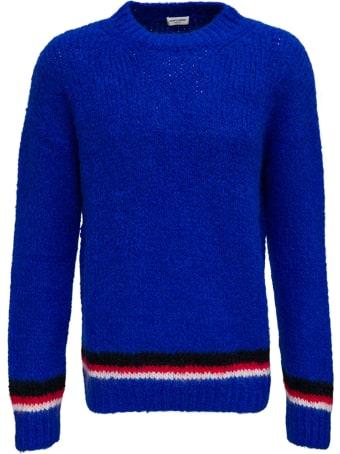 Saint Laurent Blue Wool Blend Sweater